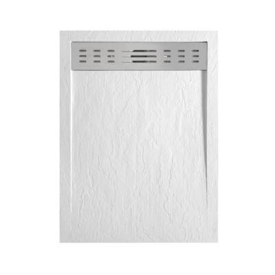 Wellis Ergo zuhanytálca 140x90x4 fehér kőhatású műmárvány, lefolyóráccsal WC00496